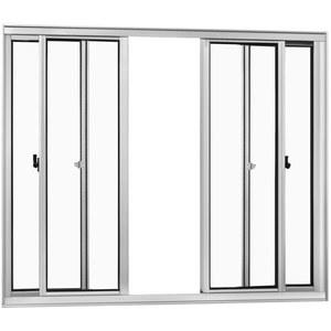 Janela Correr Aluminio Brilhante S/Bandeira S/Grade C/Vidro Liso 4 Folhas 100,00 X 150,00 X 6,0 Cmjupiter Trifel
