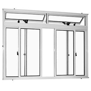 Janela Correr Aluminio Brilhante  C/Bandeira S/Grade  4 Folhas 100 X 150 X  Cmmarte Trifel