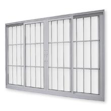 Janela de Correr de Alumínio Branco 4 Folhas 2,00x1,00m 3A Alumínio
