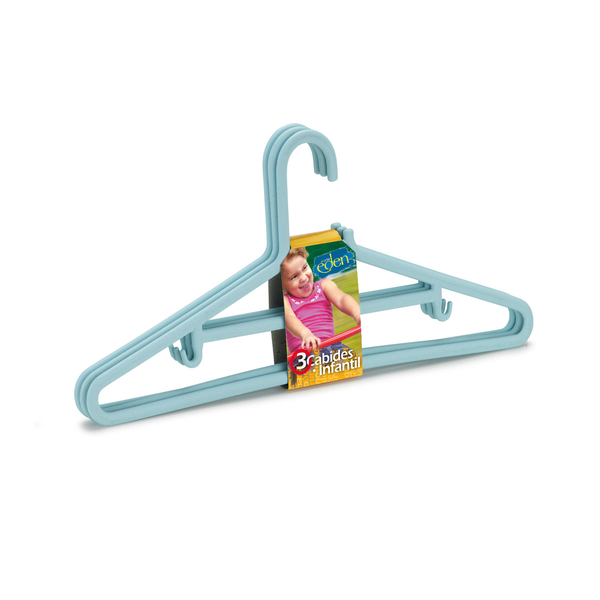 Conjunto de Cabides Infantil 3 Unidades Azul Plástico Arthi