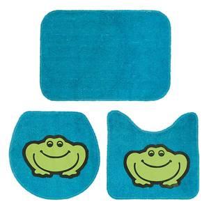 Jogo de Tapete de Banheiro 3 Peças Azul Tapetextil