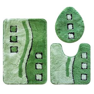 Jogo de Tapete de Banheiro 3 peças Retangular Acrílico verde Bella Casa