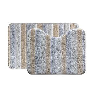Jogo de Tapete de Banheiro Antiderrapante Tecido Bege 2 peças