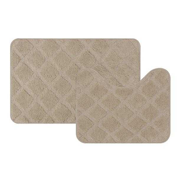76ba43082 Jogo Tapete de Banheiro Antiderrapante Soft Decor Bege Tecido 2 Peças Bella  Casa