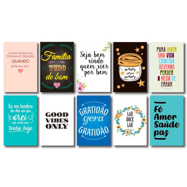 Kit 10 Placas Decorativas Com Frases Motivacionais Mdf