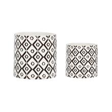 Kit 2 Vasos Cerâmica Folk Dzuwa Pequeno Bege