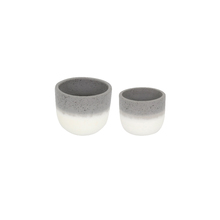 Kit 2 Vasos Cerâmica Neutral Degradê Pequeno Cinza