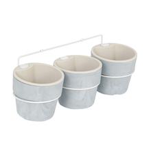 Kit 3 Vasos Plástico Autoirrigável Pequeno Concreto