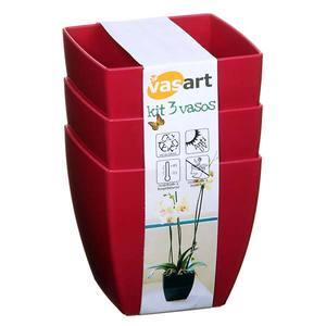 Kit 3 Vasos Resina Siena Cores 14x14cm Palash
