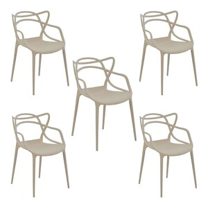 Kit 5 Cadeiras Decorativas Sala e Cozinha Feliti (PP) Nude