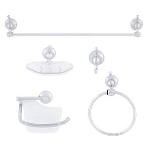 Kit Acessório de Parede 5 Peças Metal Ideale Cristal