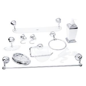 Kit Acessório de Parede 9 Peças Plástico Cromado, Acrílico e Metal Verona Cristal
