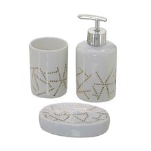 Kit Acessório para Bancada Branco e Dourado em Cerâmica 3 peças Mabruk