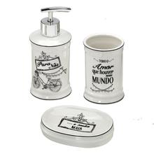 Kit Acessório para Bancada Branco em Porcelana 3 peças Espressione Mabruk
