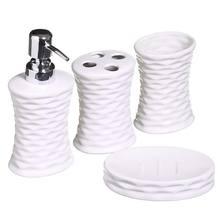 Kit Acessórios 4 Peças Porcelana Branco Hannover Importado
