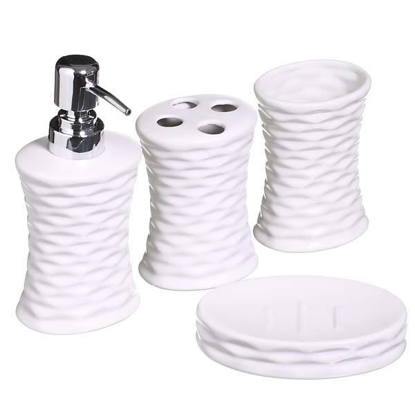 Kit Acessório Para Bancada Branco Em Porcelana 4 Peças