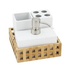 Kit Acessórios de Bancada 4 Peças Louça Branco