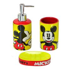 Kit Acessórios de Bancada Multicolorido em Cerâmica 3 Peças Disney Mabruk