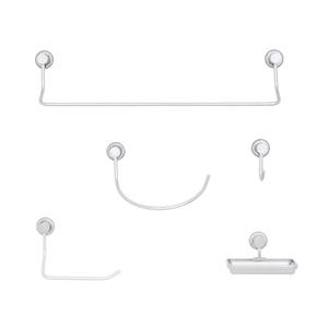 Kit Acessórios de Parede 5 peças em Aço Inox Cromado Java Sensea