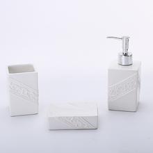 Kit Acessórios para Bancada Branco em Cerâmica 3 peças Square Elantra