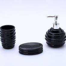 Kit Acessórios para Bancada Preto em Cerâmica 3 peças Bella Elantra