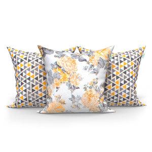 bb52561586b1b1 Kit Almofadas Decorativas Amarelas e Floral Harmonia 45cm x 45cm com Zíper  e Enchimento de Silicone