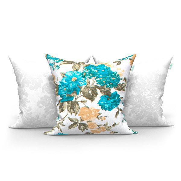 1da071098 Kit Almofadas Decorativas Branca e Garden Azul Floral 45cm x 45cm ...