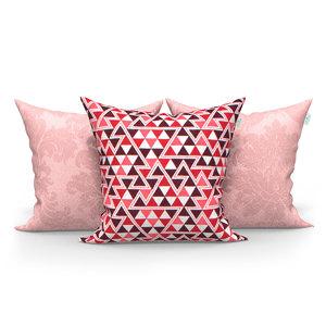 51f9dc8ec Kit Almofadas Decorativas Rosê Triangulo Composê 45cm x 45cm com Zíper e  Enchimento de Silicone