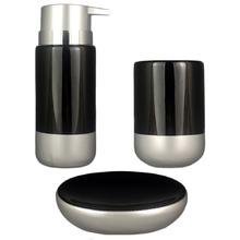 Kit Banheiro Lavabo Saboneteira Prata Acessório Em Porcelana