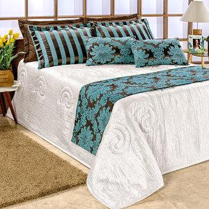 734848f2deb4c8 Kit Cobre Leito King 10 Peças Palha com Azul com 2 Almofadas Decorativas e  Xale para Cama