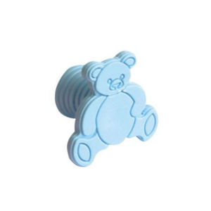Kit com 25 Puxadores Infantis de Plástico Urso Azul Zamar
