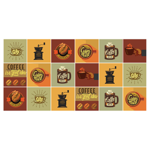 Kit de Adesivo Ladrilho Coffee 20x20cm  18 peças