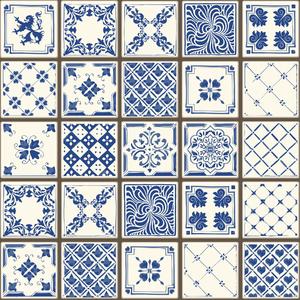 kit de adesivos azulejo portugu s reane azul e branco