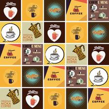 Kit de Adesivos Azulejo Coffee Colorido 20x20cm 25 peças