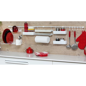 Kit barra de cozinha requinte master branco metaltru for Barra portautensili cucina leroy merlin