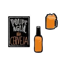 Kit de Imãs Lembrete Cerveja 3 peças Preto