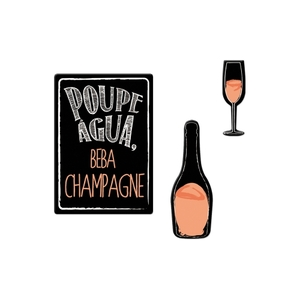 Kit de Imãs Lembrete Champagne 3 peças Preto