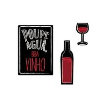 Kit de Imãs Lembrete Vinho 3 peças Preto