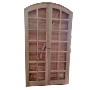 Kit de Porta Montada Balcão Decorada com Visor de Madeira Eucalipto 2,10x1,20m Tambosi