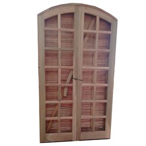 Kit de Porta Montada Balcão Decorada com Visor de Madeira Itaúba 2,10x1,20m Tambosi