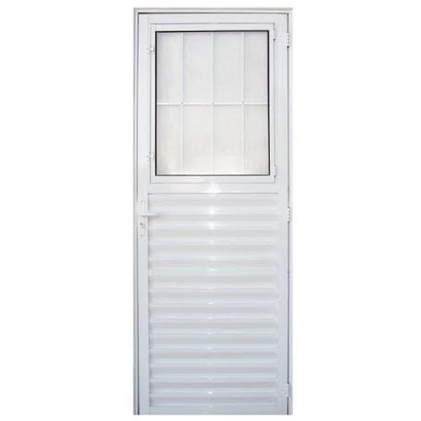 Porta montada de giro postigo metal esquerdo 2 10x0 80m 3a for Porta leroy merlin