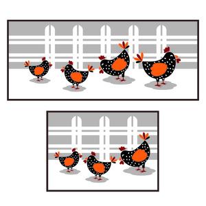 Kit de Tapetes para Cozinha Cleankasa Farm Chicken Cinza Kapazi