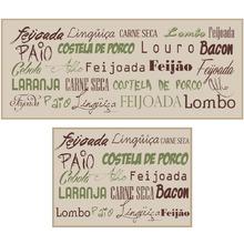 Kit de Tapetes para Cozinha Cleankasa Feijoada Bege Kapazi