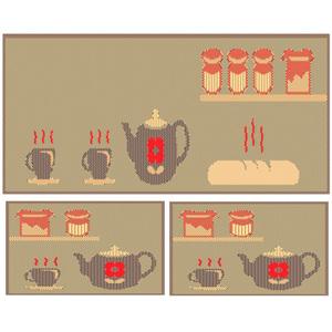Kit de Tapetes para Cozinha Sisllê Café da Manhã Bege