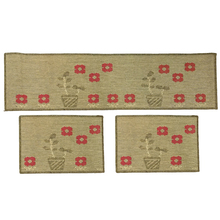 Kit de Tapetes para Cozinha Sisllê Flores Bege 3 peças