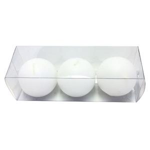 Kit de Vela Bola Branca 6cm 3 Unidades
