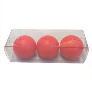 Kit de Vela Bola Vermelha 6cm 3 Unidades