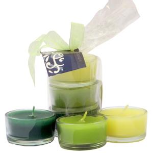 Kit de Velas Aromatizadas Degradê Chá Verde 3 unidades