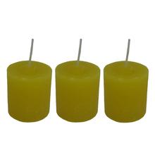 Kit de Velas Cilíndricas Mini Amarelas 3 Unidades