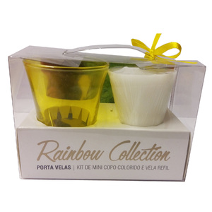 Kit de Velas Decorativa Rainbow Collection Amarela 5,1x7cm